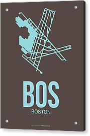 Bos Boston Airport Poster 2 Acrylic Print by Naxart Studio