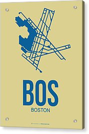 Bos Boston Airport Poster 3 Acrylic Print by Naxart Studio