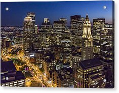 Boston And The Custom House Tower At Night Acrylic Print
