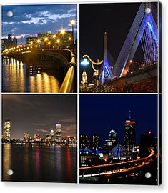 Boston At Night Collage Acrylic Print by Toby McGuire