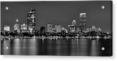 Boston Back Bay Skyline At Night Black And White Bw Panorama Acrylic Print by Jon Holiday
