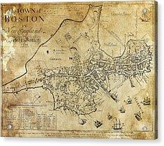 Boston Bonner Map 1722 Acrylic Print by Daniel Hagerman