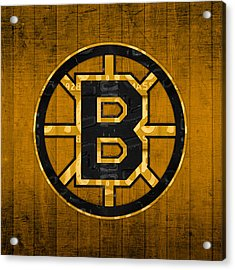 Boston Bruins Hockey Team Retro Logo Vintage Recycled Massachusetts License Plate Art Acrylic Print by Design Turnpike