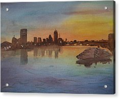 Boston Charles River At Sunset  Acrylic Print by Donna Walsh