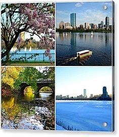 Boston Charles River Four Seasons Collage Acrylic Print by Toby McGuire