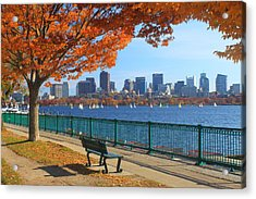 Boston Charles River In Autumn Acrylic Print