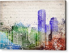 Boston City Skyline Acrylic Print by Aged Pixel