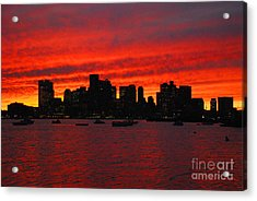 Boston City Sunset Acrylic Print