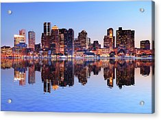 Boston City With Water Reflection At Acrylic Print by Buzbuzzer
