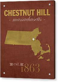 Boston College Eagles Chestnut Hill Massachusetts College Town State Map Poster Series No 020 Acrylic Print by Design Turnpike