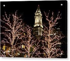 Boston Custom House With Christmas Lights Acrylic Print