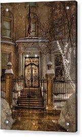 Boston Doorway In Snow - Back Bay Acrylic Print