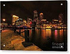 Boston Fan Pier City Skyline  Acrylic Print by Catherine Reusch Daley