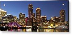 Boston Financial District Panoramic Photography Acrylic Print