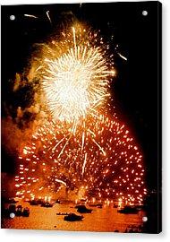 Boston Fireworks  A Burst On The Water Acrylic Print by John B Poisson