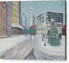 Boston First Snow Acrylic Print
