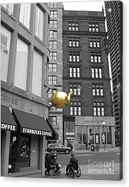 Acrylic Print featuring the photograph Boston Golden Teapot by Cheryl Del Toro
