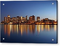 Boston Harbor And Downtown Acrylic Print by Juergen Roth
