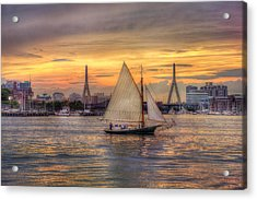 Boston Harbor Sunset Sail Acrylic Print by Joann Vitali