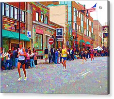 Boston Marathon Mile Twenty Two Acrylic Print by Barbara McDevitt