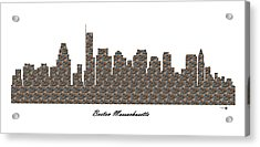 Boston Massachusetts 3d Stone Wall Skyline Acrylic Print