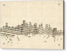 Boston Massachusetts Skyline Sheet Music Cityscape Acrylic Print by Michael Tompsett