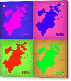 Boston Pop Art Map 1 Acrylic Print by Naxart Studio