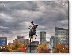 Boston Public Garden In Autumn Acrylic Print by Joann Vitali