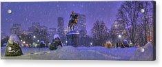 Boston Public Garden In Snow With Boston Skyline Acrylic Print by Joann Vitali