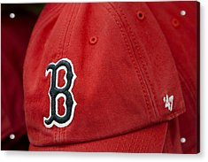 Boston Red Sox Baseball Cap Acrylic Print by Susan Candelario