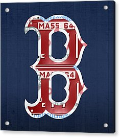 Boston Red Sox Logo Letter B Baseball Team Vintage License Plate Art Acrylic Print