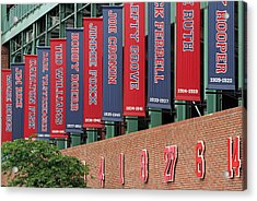 Boston Red Sox Retired Numbers Along Fenway Park Acrylic Print by Juergen Roth