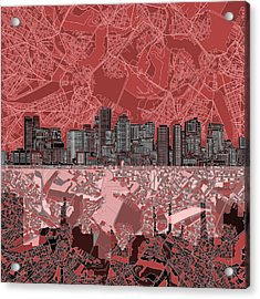 Boston Skyline Abstract Red Acrylic Print