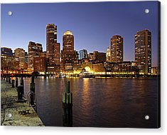 Boston Skyline And Fan Pier Acrylic Print