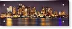 Boston Skyline At Night Panorama Acrylic Print by Jon Holiday
