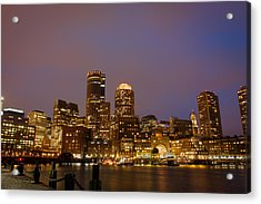 Boston Skyline Blue Hour Acrylic Print by Stewart Mellentine