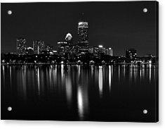 Boston Skyline By Night - Black And White Acrylic Print
