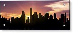 Boston Skyline Panorama Sunset Acrylic Print