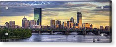 Boston Skyline Sunset Over Back Bay Panoramic Acrylic Print
