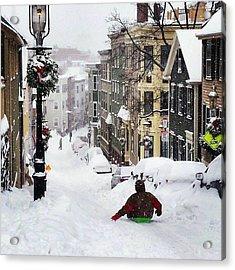 Boston Snow Day Acrylic Print by Sarah Levy
