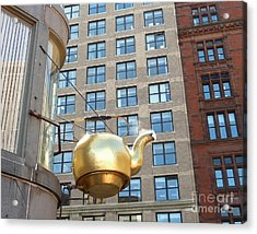 Acrylic Print featuring the photograph Boston Teapot - Color Closeup by Cheryl Del Toro