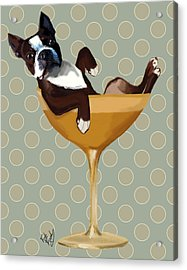 Boston Terrier Cocktail Glass Acrylic Print by Kelly McLaughlan