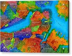 Boston Watercolor Map Acrylic Print by Paul Hein