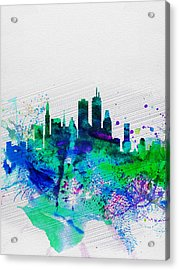 Boston Watercolor Skyline Acrylic Print by Naxart Studio
