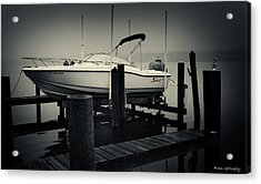 Boston Whaler In The Fog Acrylic Print by Fran Gallogly