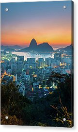 Botafogo Bay With Sugar Loaf At Sunrise Acrylic Print by Flavio Veloso