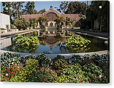 Botanical Building Reflecting In The Lily Pond At Balboa Park Acrylic Print