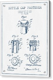 Bottle Cap Fastener Patent Drawing From 1907  - Blue Ink Acrylic Print by Aged Pixel