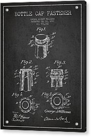 Bottle Cap Fastener Patent Drawing From 1907 - Dark Acrylic Print by Aged Pixel