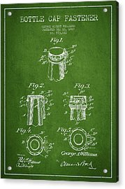 Bottle Cap Fastener Patent Drawing From 1907 - Green Acrylic Print by Aged Pixel